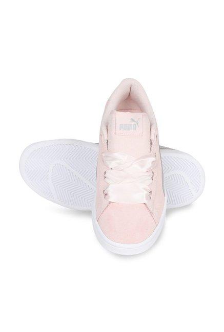 66ad2fb5a5db96 Buy Puma Smash V2 Ribbon Jr Pearl Pink   Silver Sneakers for Girls ...