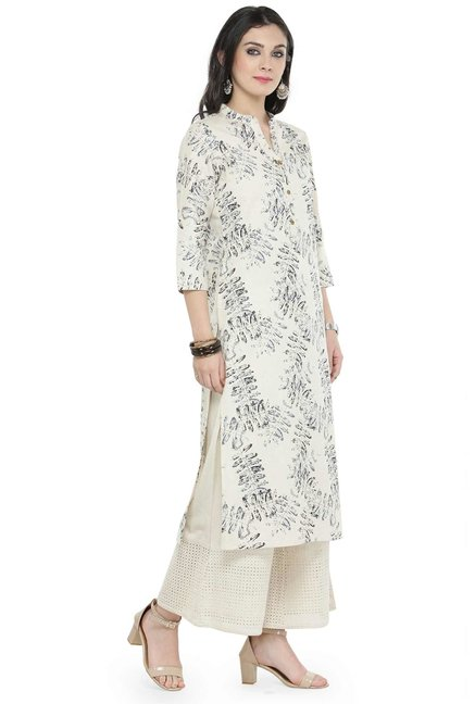 Varanga Off White Printed Cotton Kurta