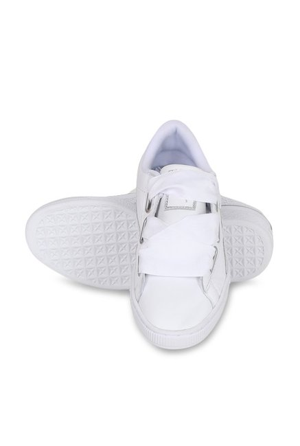 detailed look 56e0a 1e5f8 Buy Puma Basket Heart Oceanaire White Sneakers for Women at ...