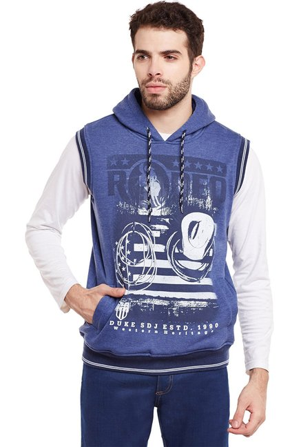 Duke Blue Printed Sleeveless Sweatshirt