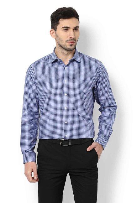 21236485 Buy Van Heusen Blue & Purple Regular Fit Checks Cotton Shirt for Men Online  @ Tata CLiQ