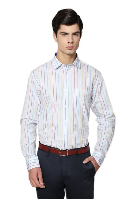 1b8a2970e443c9 Buy Allen Solly White Regular Fit Striped Shirt for Men Online @ Tata CLiQ