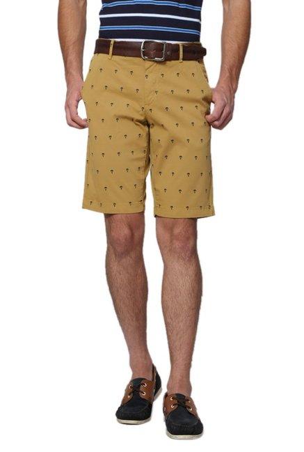 1f1edfde23a Buy Allen Solly Khaki Printed Wimbledon Shorts for Men Online   Tata CLiQ