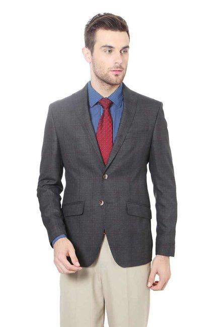 291bc15c166e Buy Peter England Grey Checks Blazer for Men Online   Tata CLiQ