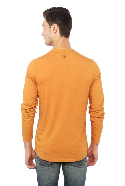 9212802d Buy Allen Solly Wimbledon Orange Textured T-Shirt for Men Online ...