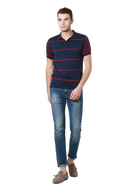 Allen Solly Navy Striped Polo T-Shirt