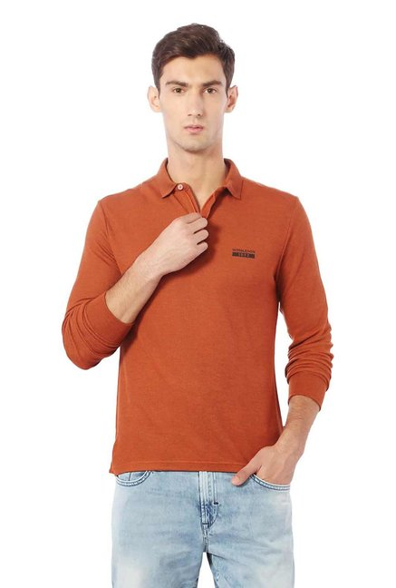 815bc83e Buy Allen Solly Wimbledon Rust Textured Polo T-Shirt for Men Online @ Tata  CLiQ