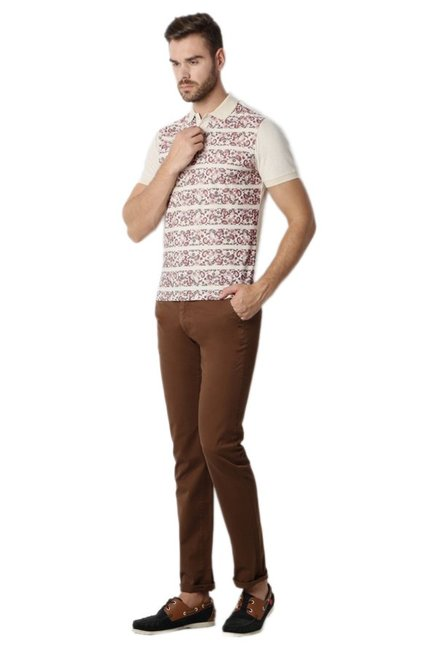 Peter England Beige Printed Polo T-Shirt