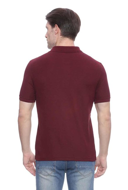 Peter England Maroon Textured Polo T-Shirt