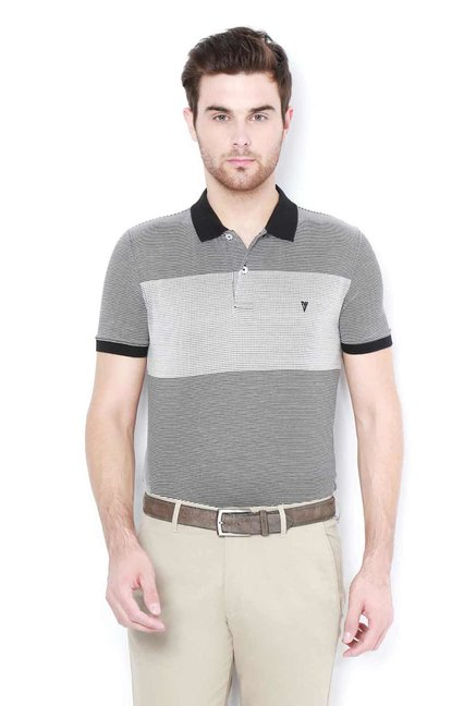 Van Heusen Grey Printed Polo T-Shirt