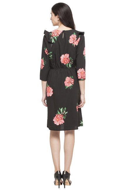 Globus Black Floral Print Dress