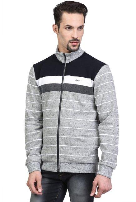 24cea42019fa Buy Octave Grey Striped Sweatshirt for Men Online   Tata CLiQ