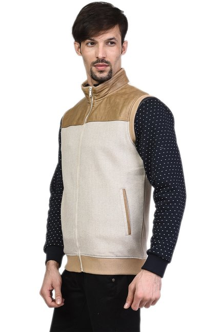 81aeb8ae010a6 Buy Octave Beige Sleeveless Jacket for Men Online   Tata CLiQ