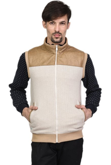 a8670f09a5927 Buy Octave Beige Sleeveless Jacket for Men Online   Tata CLiQ