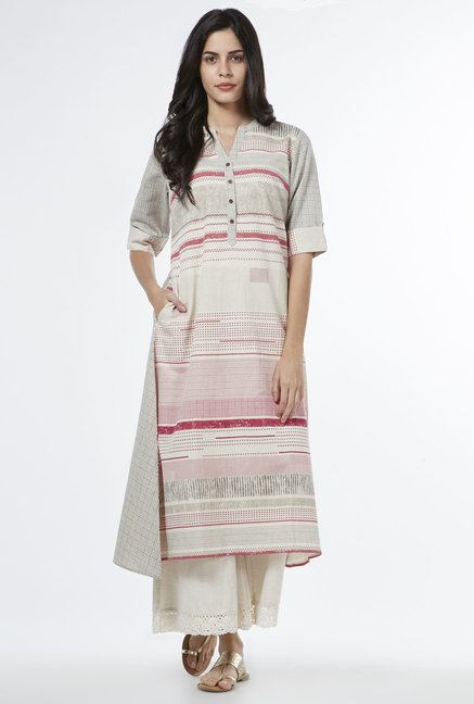Utsa by Westside Coral Checked Kurta