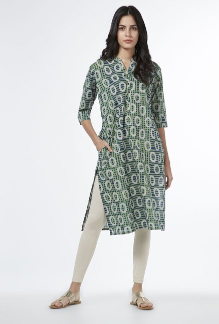 Utsa by Westside Lime Geometric Pattern Kurta