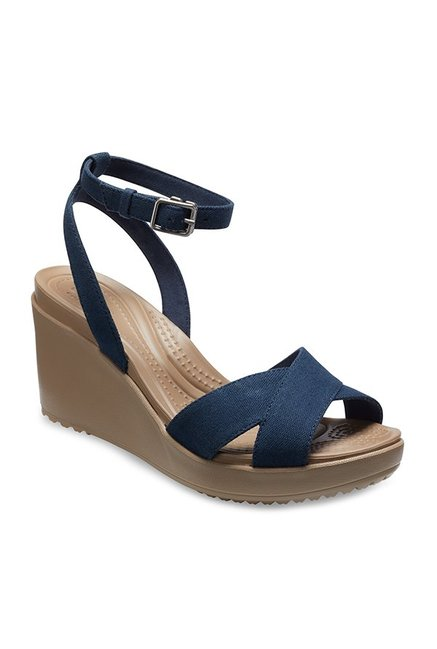 92a7af84d48 Buy Crocs Leigh II Navy Ankle Strap Wedges for Women at Best Price   Tata  CLiQ