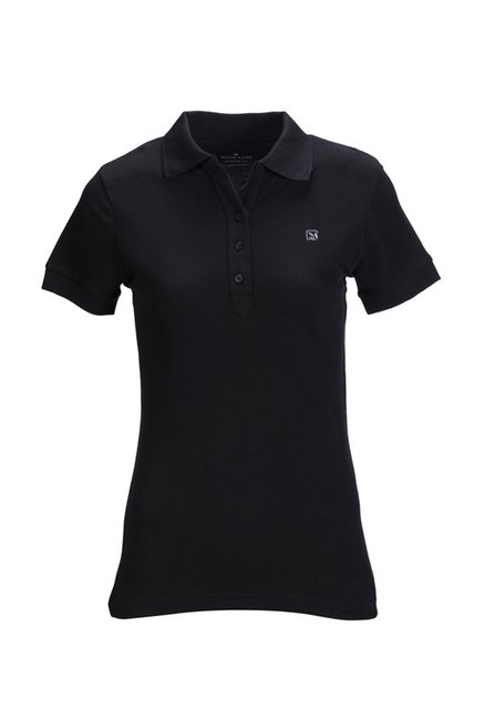a86c3c4e Buy Woodland Black Shot Sleeves Polo T-Shirt for Women Online ...