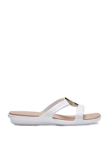 95c54cf333d2 Buy Crocs Sanrah Hammered Met White Casual Sandals for Women at Best ...