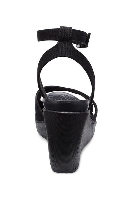 3ae35ed5e351 Buy Crocs Leigh II Black Ankle Strap Wedges for Women at Best Price ...