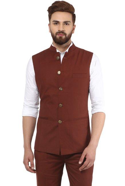 65285f0cb0fb1 Buy Mr Button Rust Sleeveless Blazer for Men Online   Tata CLiQ
