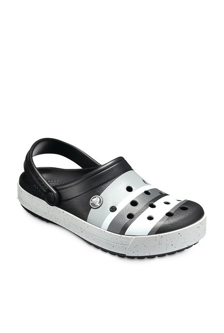 8b4ddf4aaaf1ed Buy Crocs Crocband Color Burst Black   Grey Back Strap Clogs for Men at Best  Price   Tata CLiQ