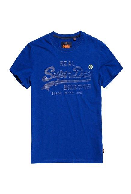 19274c7fa40d59 Buy Superdry Royal Blue Printed T-Shirt for Men Online   Tata CLiQ