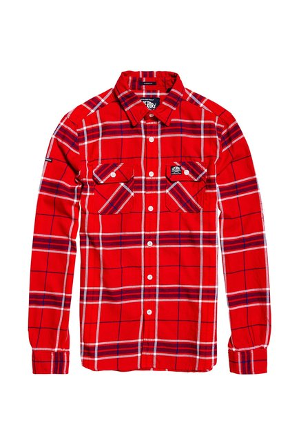 Shirt Straight Red Men For OnlineTata Cliq Fit Buy Superdry Royal nkX8wOP0