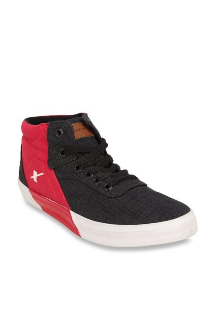 Sparx Black \u0026 Red Ankle High Sneakers