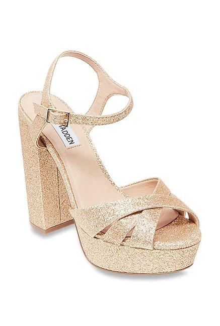 339e544af6b Buy Steve Madden Gleam Golden Ankle Strap Sandals for Women at Best Price    Tata CLiQ
