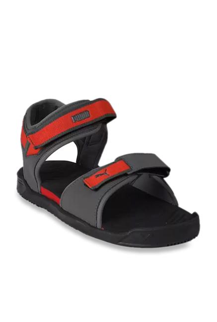 6ec46ef2a613f3 Buy Puma Shine IDP Black   High Risk Red Floater Sandals for Men at Best  Price   Tata CLiQ