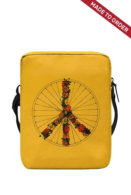 Buy Daily Objects Peace and Bike Ochre Yellow   Red Crossbody ... bd41f3a21794d