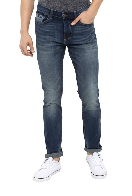 bb0ec3deef Buy Red Tape Stone Blue Lightly Washed Jeans for Men Online   Tata CLiQ