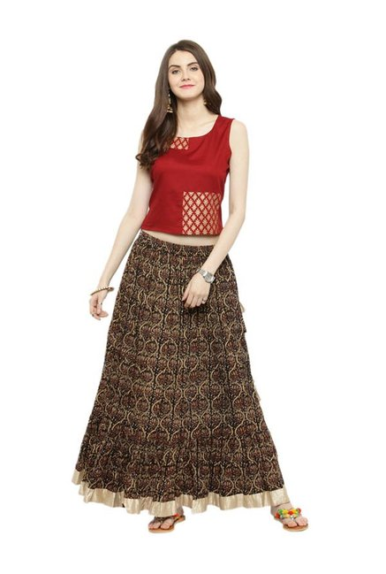 3fd7476f57 Buy Varanga Rust & Black Printed Kurta With Skirt for Women Online @ Tata  CLiQ