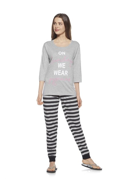 Zudio Grey Melange Comfort Fit Pyjama Set