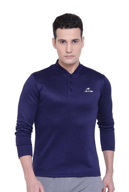 Alcis Dark Blue Regular Fit Henley T-Shirt