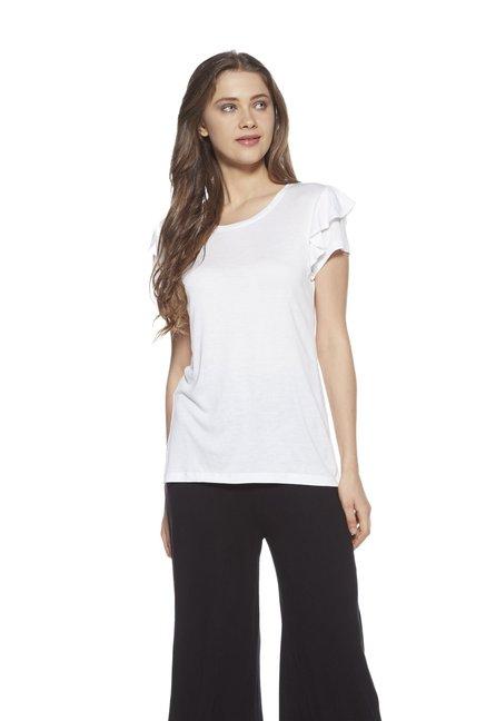 c835241d4fab43 Buy Zudio White Fenny Ruffled Top for Women Online   Tata CLiQ