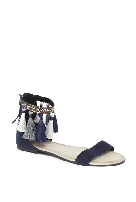 e61c62f943e Buy LUNA BLU by Westside Navy Tasselled Sandals For Women ...