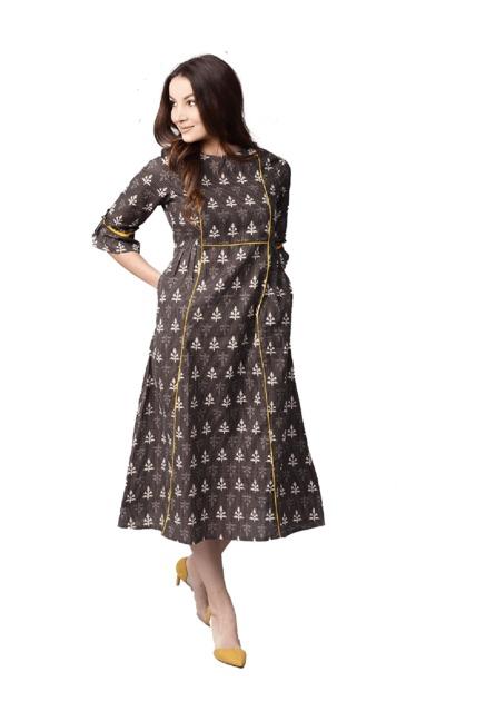 073ed2bc7956 Buy Jaipur Kurti Brown Printed Dress for Women Online   Tata CLiQ