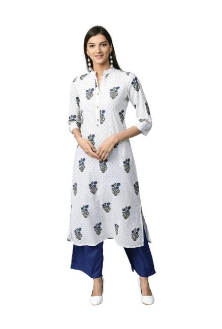 24568eab61f8 Buy Jaipur Kurti White   Blue Cotton Kurta With Palazzo for Women Online    Tata CLiQ