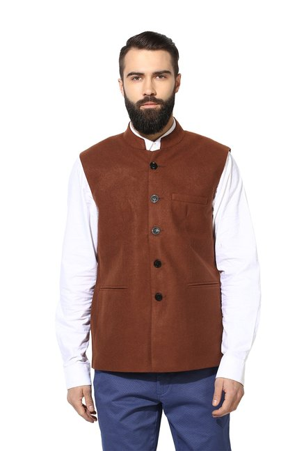 99f2ab499f71d Buy Red Tape Brown Sleeveless Jacket for Men Online   Tata CLiQ