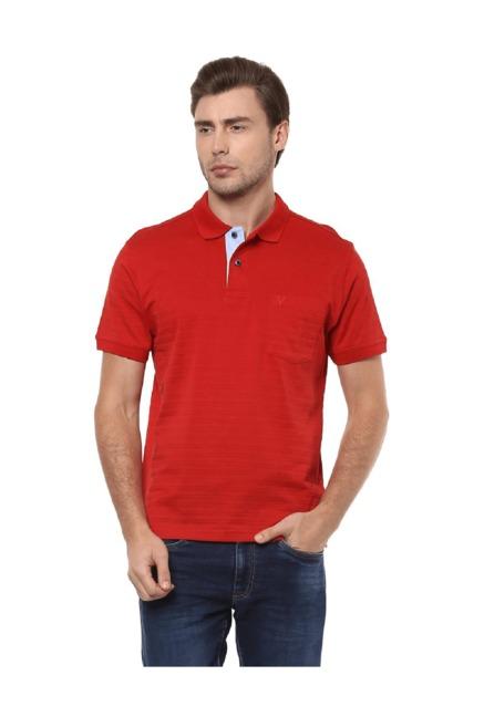 c020098d7ea3 Buy Allen Solly Red Cotton Polo T-Shirt for Men Online   Tata CLiQ