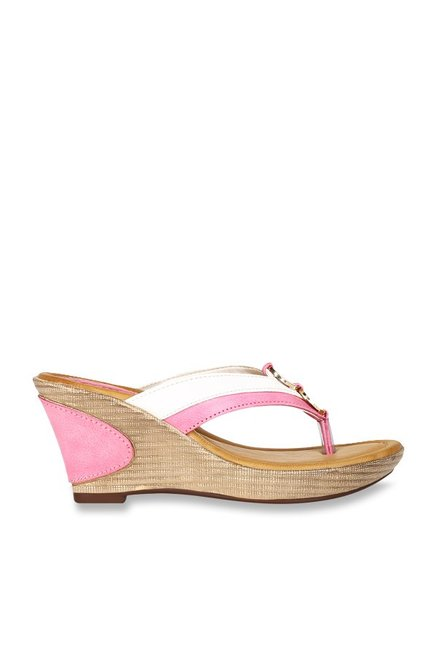 4f4f3bde3cc81 Buy La Briza Nalco Pink   White Thong Wedges for Women at Best Price ...