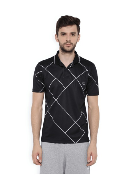 19417d359 Buy Van Heusen Black Cotton Polo T-Shirt for Men Online @ Tata CLiQ