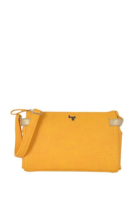 Baggit L Talitha Y G Gland Yellow Solid Sling Bag