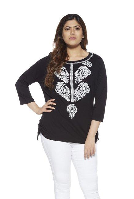 8fc314c50 Buy Gia by Westside Black Paisley Design Top for Women Online   Tata CLiQ