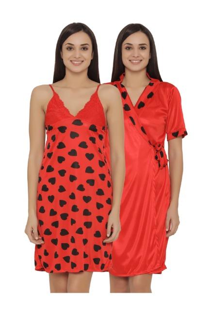 Buy Clovia Red Heart Print Nighty With Robe for Women Online ... b792397fe