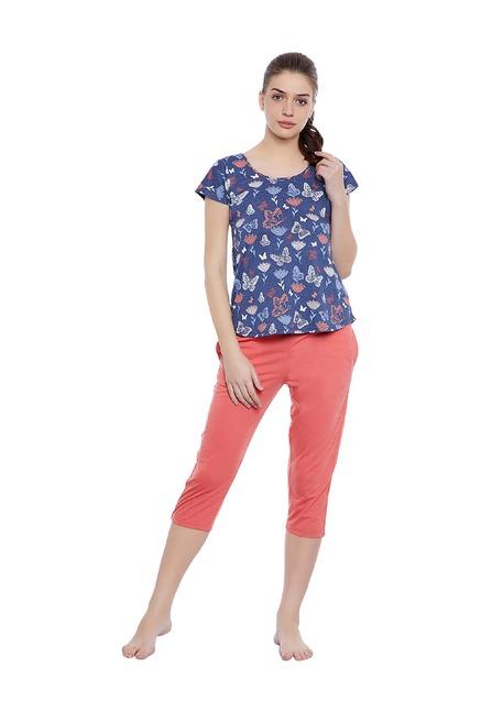 771afad702 Buy Clovia Blue   Coral Printed Top   Capri Set for Women Online   Tata CLiQ