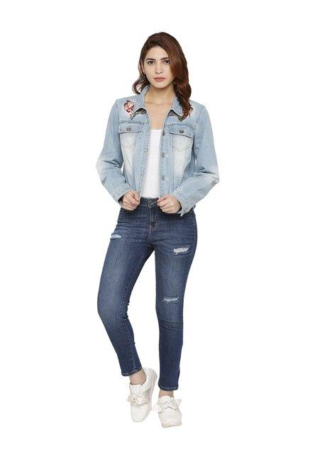 a18a8ee3549 Buy Globus Blue Embroidered Denim Jacket for Women Online ...