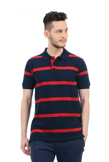 74113a01f6 Buy Hanes Navy Half Sleeves Regular Fit Polo T-Shirt for Men Online @ Tata  CLiQ